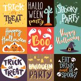 Halloween party celebration invitation cards vector illustration set design Stock Images