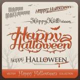 Set of happy halloween greetings typography stock illustration
