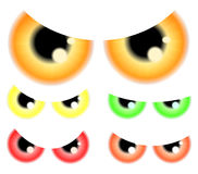Set of Happy Halloween spooky, scary eyes, eyeballs, iris, pupil.  Vector illustration isolated on white background. Royalty Free Stock Image