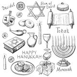 Set of Happy Hanukkah designed elements Stock Photo