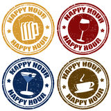 Set of happy hour  stamps Stock Photography