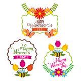 Set of Happy International Woman Day signs,. Emblems - Vector design elements, signs, labels, badges collection Royalty Free Stock Photography