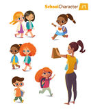 Set of happy joyful cartoon kids in motion and woman. Vector illustration. . Set of happy joyful cartoon kids in motion and woman. Vector illustration Royalty Free Stock Image