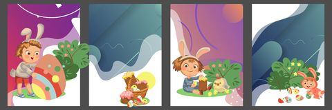 Set of Happy kids in bunny costume with ears hunting easter eggs, childrens play rabbits on spring holiday, decorative. Basket under bush vector illustration stock illustration