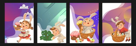 Set of Happy kids in bunny costume with ears hunting easter eggs, childrens play rabbits on spring holiday, decorative. Basket under bush vector illustration royalty free illustration