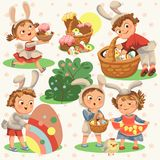 Set of Happy kids in bunny costume with ears hunting easter eggs, childrens play rabbits on spring holiday, decorative. Basket under bush vector illustration vector illustration