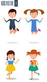 Set of happy kids vector Royalty Free Stock Photos