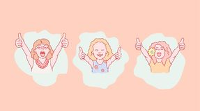 Set of happy little girl expressions. Vector illustration art style royalty free illustration