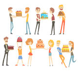 Set of happy and loving people celebrating anniversary with a festive cake colorful characters vector Illustrations. Isolated on white background Royalty Free Stock Photos