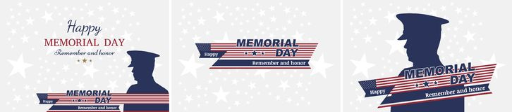 Set happy memorial day. Greeting cards with flag and soldier on background. National American holiday event Stock Photos