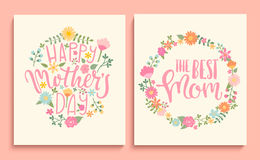 Set of Happy Mother`s day cards. Set of Happy Mother`s day cards with handdrawn lettering in floral circle. Vector Illustration Royalty Free Stock Photo