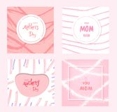 Happy Mother`s Day. Vector Illustration. Set of Happy Mother`s Day cards. Handwritten lettering.  Vector Illustration Stock Image