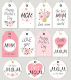 Set of Happy Mother`s Day gift tagss and cards. Vector illustration Royalty Free Stock Images