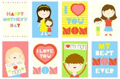 Set of Happy Mother`s day greeting cards. Happy Mother`s day greeting cards set. Collection of banner, background, flyer, placard with cute mom, girls and boys Royalty Free Stock Image