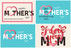 Set of Happy Mother's Day greeting cards. Vector illustration. Stock Photos