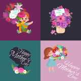 Set of Happy mothers day cards with greeting text and kids, baby boy and girl with bouqkuet of flowers in flat style Stock Image