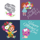 Set of Happy mothers day cards with greeting text and kids, baby boy and girl with bouqkuet of flowers in flat style Royalty Free Stock Image
