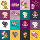 Set of Happy mothers day cards with greeting text and kids, baby boy and girl with bouqkuet of flowers in flat style. Lettering mom celebration poster Royalty Free Stock Images