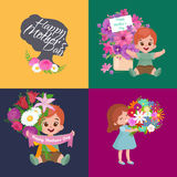Set of Happy mothers day cards with greeting text and kids, baby boy and girl with bouqkuet of flowers in flat style Royalty Free Stock Photography