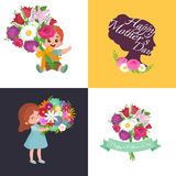 Set of Happy mothers day cards with greeting text and kids, baby boy and girl with bouqkuet of flowers in flat style Stock Photos
