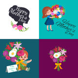 Set of Happy mothers day cards with greeting text and kids, baby boy and girl with bouqkuet of flowers in flat style Stock Images