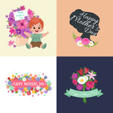 Set of Happy mothers day cards with greeting text and kids, baby boy and girl with bouqkuet of flowers in flat style Stock Photo