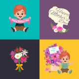 Set of Happy mothers day cards with greeting text and kids, baby boy and girl with bouqkuet of flowers in flat style Stock Photography