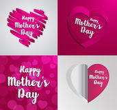 Set of Happy Mothers Day greeting card. Stock Photography