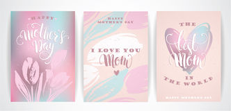 Set of Happy Mothers Day lettering greeting cards with Flowers. Stock Photography