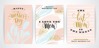 Set of Happy Mothers Day lettering greeting cards with Flowers. Royalty Free Stock Images