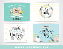 Set of Happy Mothers Day lettering greeting cards with Flowers. Stock Photo