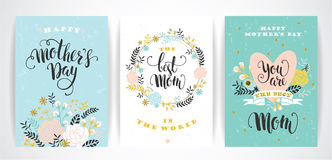 Set of Happy Mothers Day lettering greeting cards with Flowers. Royalty Free Stock Photos