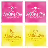 Set Of Happy Mothers's Day Template Card Background Royalty Free Stock Image