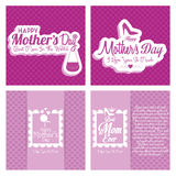 Set Of Happy Mothers's Day Template Card Background Royalty Free Stock Photos