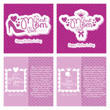 Set Of Happy Mothers's Day Template Card Background Stock Photos