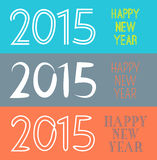 Set of Happy New Year 2015 banner.  illustration. For holiday retro design. Simple drawn numbers Stock Images