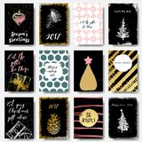 2017 Set of Happy New Year cards or backgrounds. Trendy style wi. Th hand lettering words. Black, white, gold colors design. Vector vector illustration