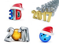 Set of happy new year 2017, 3d movie, Bowling Ball, 3d Illustrations Royalty Free Stock Photo