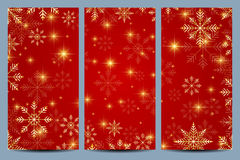 Set of Happy New Year Flyers. Red background with golden snowflakes. Modern design vector template royalty free illustration