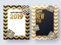 Set of Happy New Year greeting card design with gift boxes on ge. Ometric abstract background vector illustration
