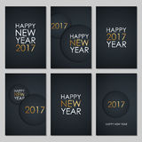 Set of 2017 Happy New Year greeting cards with golden colored elements and black background. Vector illustration Stock Image
