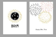 Set of Happy New Year 2019 greeting cards, party invitations with hand drawn clocks and fireworks. Isolated vector stock illustration