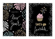 Set of Happy New Year greeting cards, party invitations with hand drawn fireworks, handlettered text and cupcake with a. Sparkler, vector illustration Royalty Free Stock Images