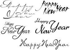 Set of Happy New Year Inscription stock illustration