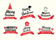 Set of Happy New Year and Merry Christmas brochures in vintage Royalty Free Stock Images