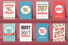 Set of Happy New Year and Merry Christmas brochures  Royalty Free Stock Image