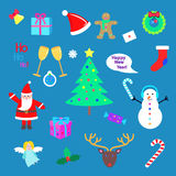 Set of Happy New Year and Merry Christmas elements. Set of Happy New Year and Merry Christmas elments. Xmas tree, snowman, present, Santa Claus, deer, candy vector illustration