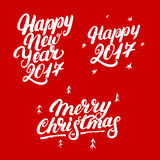 Set of Happy New Year 2017 and Merry Christmas hand written lettering. Modern brush calligraphy. Christmas greeting card on red background. Vector illustration Stock Photography
