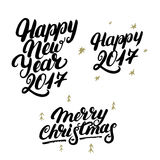 Set of Happy New Year 2017 and Merry Christmas hand written lettering. Modern brush calligraphy. Christmas greeting card on white background. Golden design Royalty Free Stock Photos