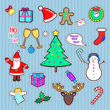 Set of Happy New Year and Merry Christmas patch. Royalty Free Stock Photos